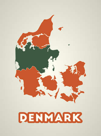 Denmark poster in retro style. Map of the country with regions in autumn color palette. Shape of Denmark with country name. Attractive vector illustration. Illustration