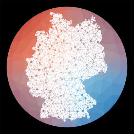 Vector network Germany map. Map of the country with low poly background. Rounded Germany illustration in technology, internet, network, telecommunication concept style . Artistic vector illustration.