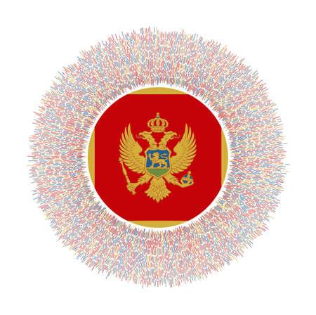 Flag of Montenegro with colorful rays. Radiant country sign. Shiny sunburst with Montenegro flag. Elegant vector illustration. Ilustração