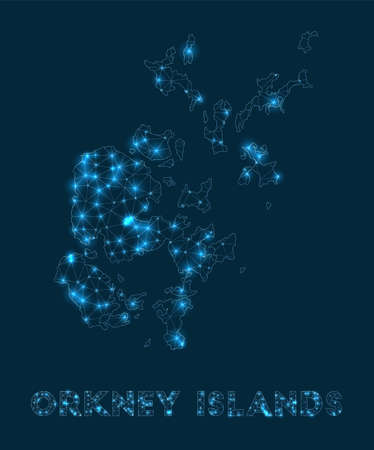 Orkney Islands network map. Abstract geometric map of the island. Internet connections and telecommunication design. Astonishing vector illustration.
