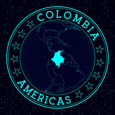 Colombia round sign. Futuristic satelite view of the world centered to Colombia. Country badge with map, round text and binary background. Elegant vector illustration. Ilustracja