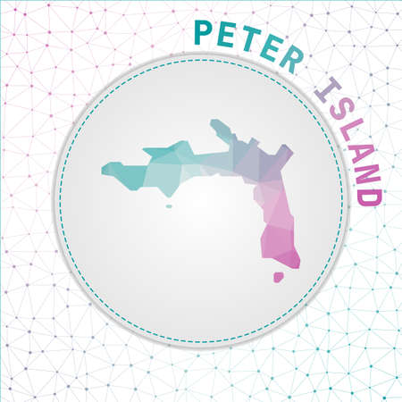 Vector polygonal Peter Island map. Map of the island with network mesh background. Peter Island illustration in technology, internet, network, telecommunication concept style.