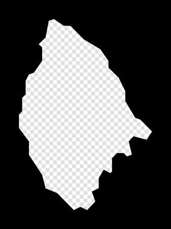 Stencil map of La Digue. Simple and minimal transparent map of La Digue. Black rectangle with cut shape of the island. Radiant vector illustration. Иллюстрация