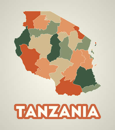 Tanzania poster in retro style. Map of the country with regions in autumn color palette. Shape of Tanzania with country name. Appealing vector illustration.