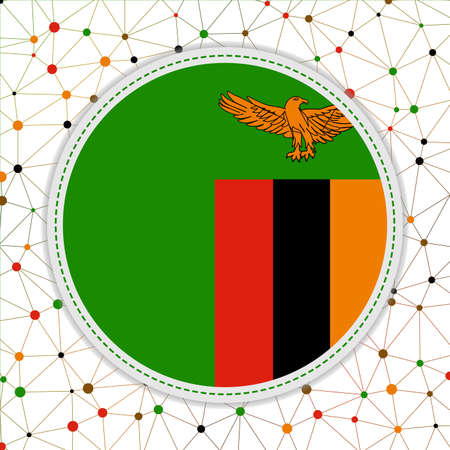 Flag of Zambia with network background. Zambia sign. Radiant vector illustration.