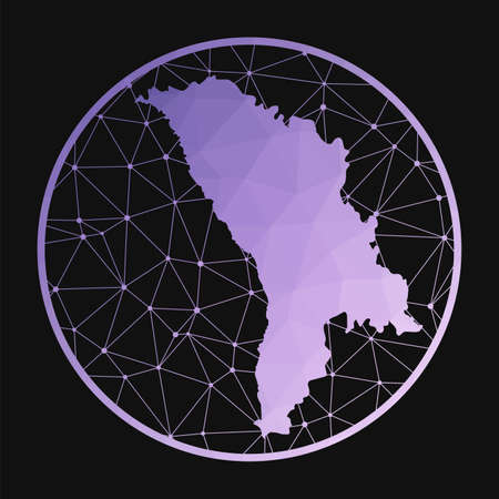 Moldova icon. Vector polygonal map of the country. Moldova icon in geometric style. The country map with purple low poly gradient on dark background.