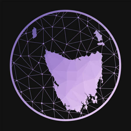 Tasmania icon. Vector polygonal map of the island. Tasmania icon in geometric style. The island map with purple low poly gradient on dark background. Illustration