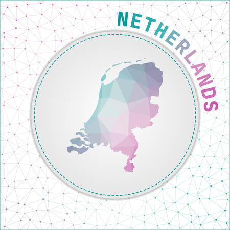 Vector polygonal Netherlands map. Map of the country with network mesh background. Netherlands illustration in technology, internet, network, telecommunication concept style.