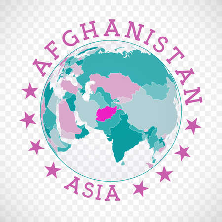 Afghanistan round logo. Badge of country with map of Afghanistan in world context. Country sticker stamp with globe map and round text. Amazing vector illustration.