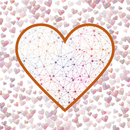 Polygonal Valentine Day Heart. Geometric heart mesh in accent color shades, accent connections. Appealing network style vector illustration. Çizim