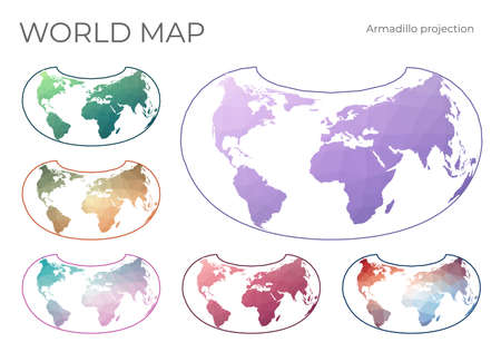 Low Poly World Map Set. Armadillo projection. Collection of the world maps in geometric style. Vector illustration.