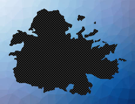 Antigua geometric map. Stencil shape of Antigua in low poly style. Cool island vector illustration.