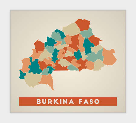 Burkina Faso poster. Map of the country with colorful regions. Shape of Burkina Faso with country name. Trendy vector illustration.