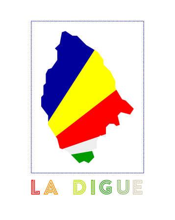 La Digue Logo. Map of La Digue with island name and flag. Attractive vector illustration. Иллюстрация