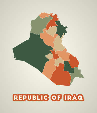Republic of Iraq poster in retro style. Map of the country with regions in autumn color palette. Shape of Republic of Iraq with country name. Neat vector illustration. 스톡 콘텐츠 - 141700635