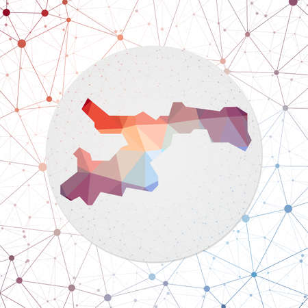 Abstract vector map of Norman Island. Technology in the island geometric style poster. Polygonal Norman Island map on 3d triangular mesh backgound. Vector.