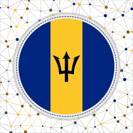 Flag of Barbados with network background. Barbados sign. Classy vector illustration.