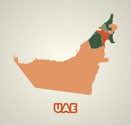 UAE poster in retro style. Map of the country with regions in autumn color palette. Shape of UAE with country name. Charming vector illustration.