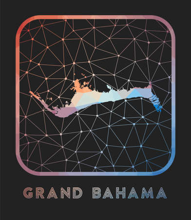 Grand Bahama map design. Vector low poly map of the island. Grand Bahama icon in geometric style. The island shape with polygnal gradient and mesh on dark background. Illusztráció