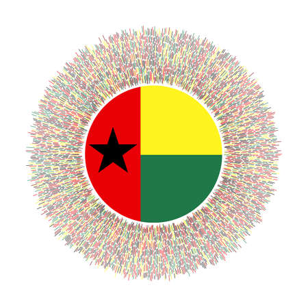 Flag of Guinea-Bissau with colorful rays. Radiant country sign. Shiny sunburst with Guinea-Bissau flag. Stylish vector illustration.