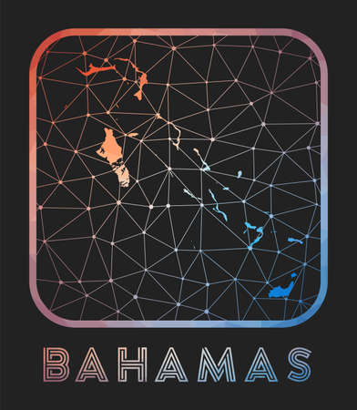Bahamas map design. Vector low poly map of the country. Bahamas icon in geometric style. The country shape with polygnal gradient and mesh on dark background.