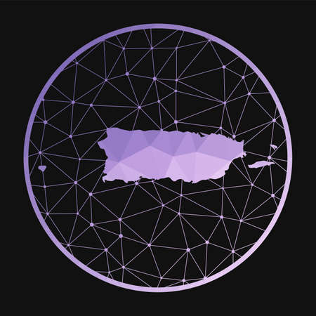 Puerto Rico icon. Vector polygonal map of the country. Puerto Rico icon in geometric style. The country map with purple low poly gradient on dark background. Vectores