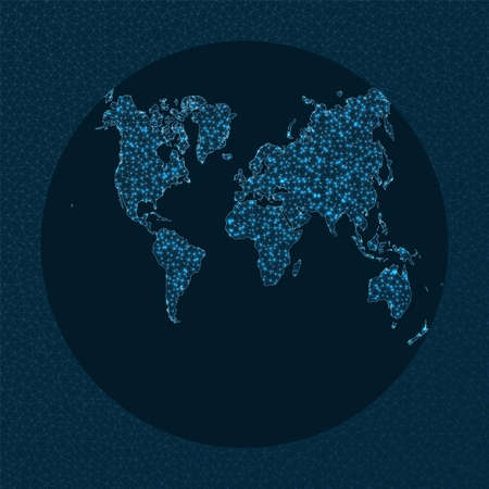 World map connection. Van Der Grinten 2 projection. World Network. Beautiful connections map. Vector illustration.