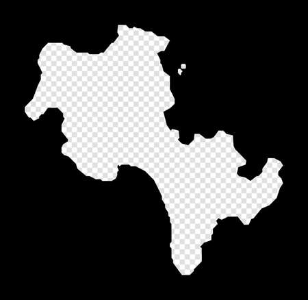 Stencil map of Koh Rong. Simple and minimal transparent map of Koh Rong. Black rectangle with cut shape of the island. Authentic vector illustration.