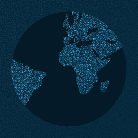 Network map of the world. Gnomonic projection. World Network. Superb connections map. Vector illustration.