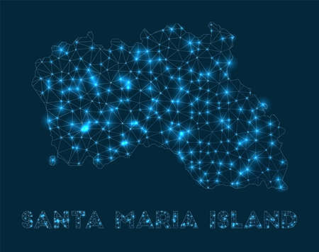 Santa Maria Island network map. Abstract geometric map of the island. Internet connections and telecommunication design. Cool vector illustration.