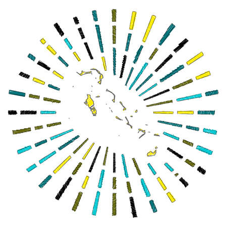 Sketch map of Bahamas. Sunburst around the country in flag colors. Hand drawn Bahamas shape with sun rays on white background. Vector illustration.  イラスト・ベクター素材