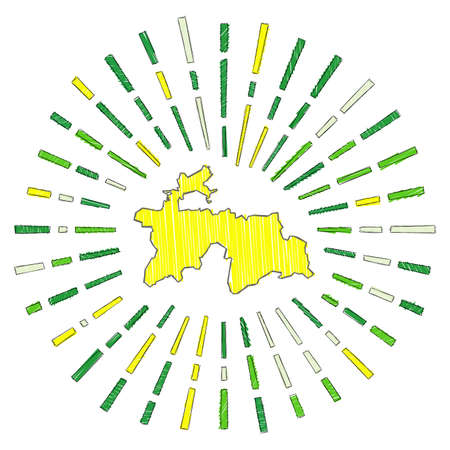Sketch map of Tajikistan. Sunburst around the country in flag colors. Hand drawn Tajikistan shape with sun rays on white background. Vector illustration.