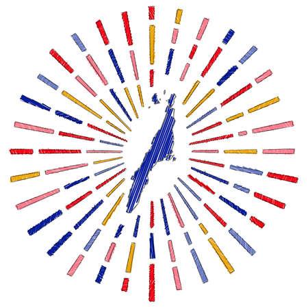 Sketch map of Cebu. Sunburst around the island in flag colors. Hand drawn Cebu shape with sun rays on white background. Vector illustration.  イラスト・ベクター素材
