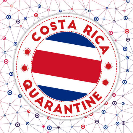 Quarantine in Costa Rica sign. Round badge with flag of Costa Rica. Country lockdown emblem with title and virus signs. Vector illustration.  イラスト・ベクター素材