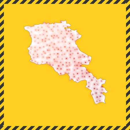 Armenia closed - virus danger sign. Lock down country icon. Black striped border around map with virus spread concept. Vector illustration.
