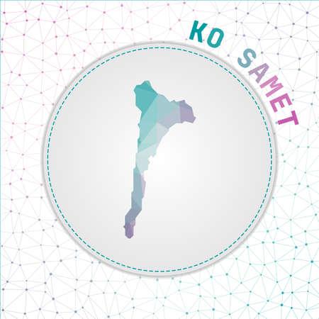 Vector polygonal Ko Samet map. Map of the island with network mesh background. Ko Samet illustration in technology, internet, network, telecommunication concept style . Elegant vector illustration.
