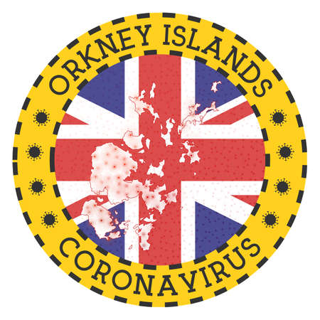 Coronavirus in Orkney Islands sign. Round badge with shape of Orkney Islands. Yellow island lock down emblem with title and virus signs. Vector illustration.