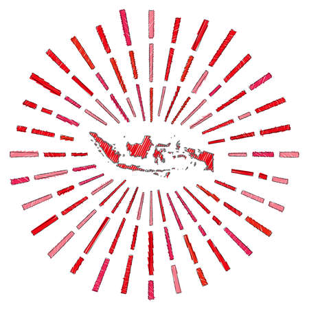 Sketch map of Indonesia. Sunburst around the country in flag colors. Hand drawn Indonesia shape with sun rays on white background. Vector illustration.