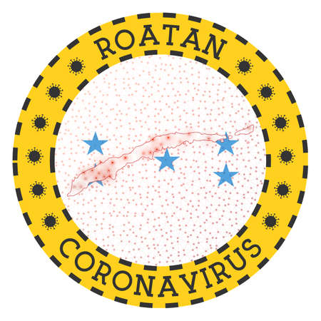 Coronavirus in Roatan sign. Round badge with shape of Roatan. Yellow island lock down emblem with title and virus signs. Vector illustration.