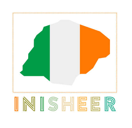 Map of Inisheer with island name and flag. Astonishing vector illustration.
