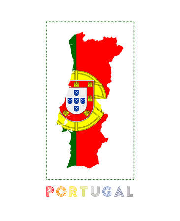 Map of Portugal with country name and flag. Neat vector illustration.  イラスト・ベクター素材