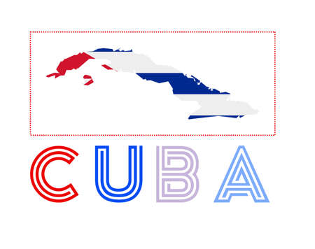 Map of Cuba with country name and flag. Neat vector illustration.  イラスト・ベクター素材