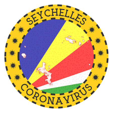 Coronavirus in Seychelles sign. Round badge with shape of Seychelles. Yellow island lock down emblem with title and virus signs. Vector illustration.