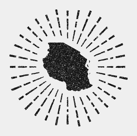 Vintage map of Tanzania. Grunge sunburst around the country. Black Tanzania shape with sun rays on white background. Vector illustration.