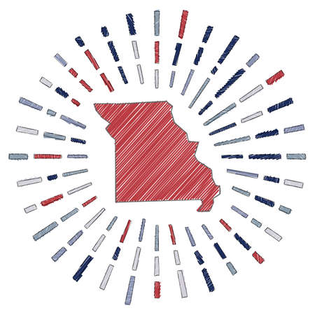 Sketch map of Missouri. Sunburst around the us state in flag colors. Hand drawn Missouri shape with sun rays on white background. Vector illustration.