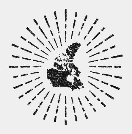 Vintage map of Canada. Grunge sunburst around the country. Black Canada shape with sun rays on white background. Vector illustration.