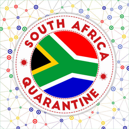 Quarantine in South Africa sign. Round badge with flag of South Africa. Country lockdown emblem with title and virus signs. Vector illustration.  イラスト・ベクター素材