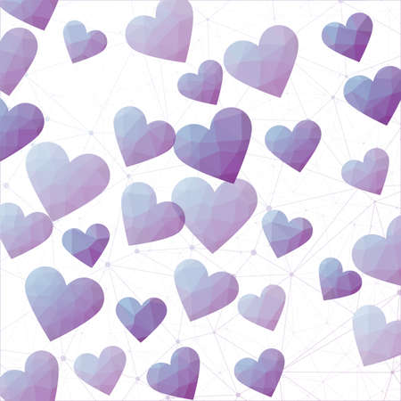 Geometric Hearts. Polygonal hearts in blue purple colors. Appealing digital design. Powerful vector illustration.