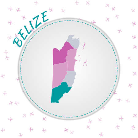 Belize map design. Map of the country with regions in emerald-amethyst color palette. Rounded travel to Belize poster with country name and airplanes background. Attractive vector illustration.  イラスト・ベクター素材