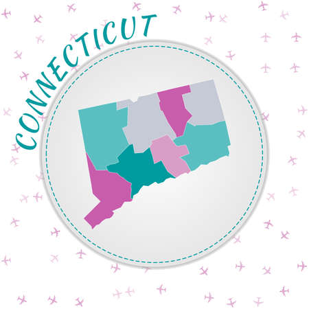 Connecticut map design. Map of the us state with regions in emerald-amethyst color palette. Rounded travel to Connecticut poster with us state name and airplanes background.